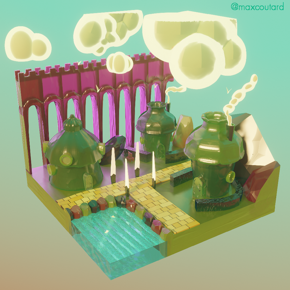 A cross-section diorama of the Emerald city, a yellow brick road leading offscreen. A small pool of crystalline water in a one corner. Bordered by a translucent rocky bridge.