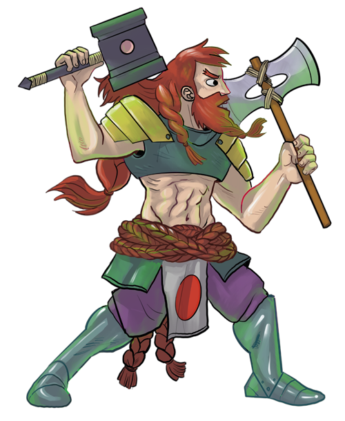A burly red-headed barbarian wielding two axes