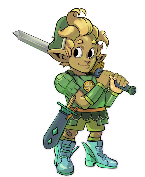 A small cute golden-haired child clad in green armor and winged shoes