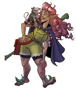 A rosy-haired elf in dirty overalls and cloak, smiling at her possum familiar on her shoulder